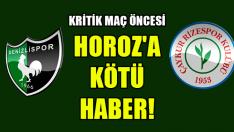 Kritik Maç Öncesi Denizlispor'a Kötü Haber