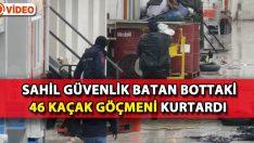 Sahil Güvenlik Batan Bottaki 46 Kaçak Göçmeni Kurtardı