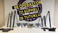 98 Operasyonda Yakalanan 111 Uyuşturucu Tacirinden 18'i Tutuklandı