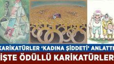 Aydın'da karikatürler kadına şiddeti anlattı!