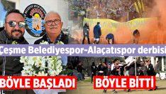 Çeşme Belediyespor-Alaçatıspor derbisi sonrası tribünler karıştı