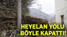 Aydın'da heyelan yol kapattı