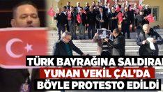 Çal'da Yunan vekilin resmini yakarak protesto ettiler!