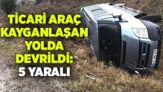 Manisa Kula'da ticari araç devrildi.. 5 kişi yaralandı!