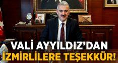 İzmir Valisi'nden İzmirlilere teşekkür!