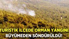 Tatil beldesinde orman yangını büyümeden söndürüldü!