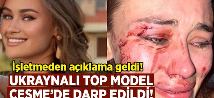 Ukraynalı top model Daria Kyryliuk'a Çeşme'de darp.. İşletmeden açıklama geldi!