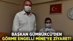 Başkan Utku Gümrükçü'den Görme Engelli Mine'ye ziyaret