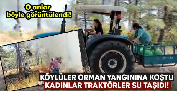 Köylüler orman yangınına koştu.. Kadınlar traktörler su taşıdı!