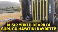 Mısır yüklü tır devrildi.. Kazada sürücü Arif Çevik hayatını kaybetti!