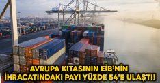 Avrupa kıtasının EİB'nin ihracatındaki payı yüzde 54'e ulaştı!